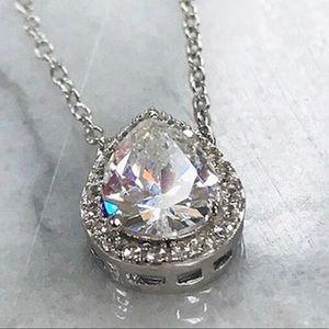 Jewelry - Brilliant Pear Cubic Zirconia/Sterling/Silver Neck